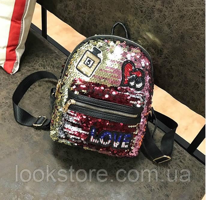 Женский рюкзак с нашивками и разноцветными пайетками мультиколор