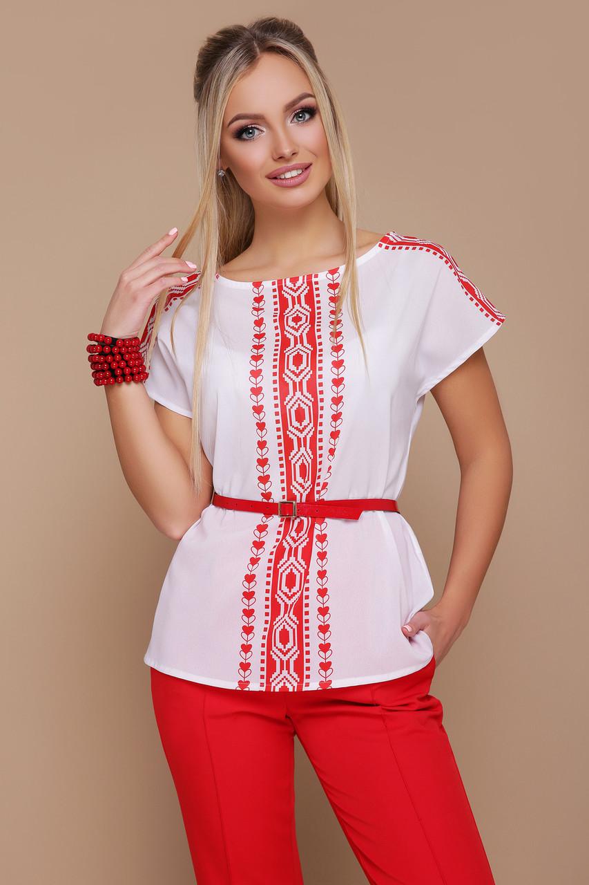 Женская белая блуза с красным орнаментом Мира б/р