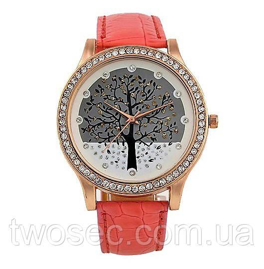Часы женские наручные нежно-розовые кварцевые Magic tree розового цвета
