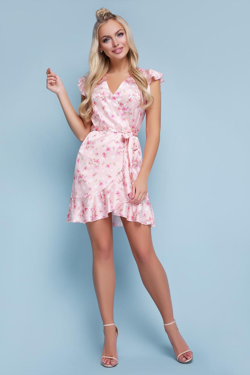 Женское персиковое платье с цветами Алиса б/р