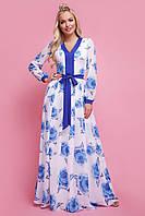 Женское шифоновое платье в пол с длинным рукавом Каролина д/р