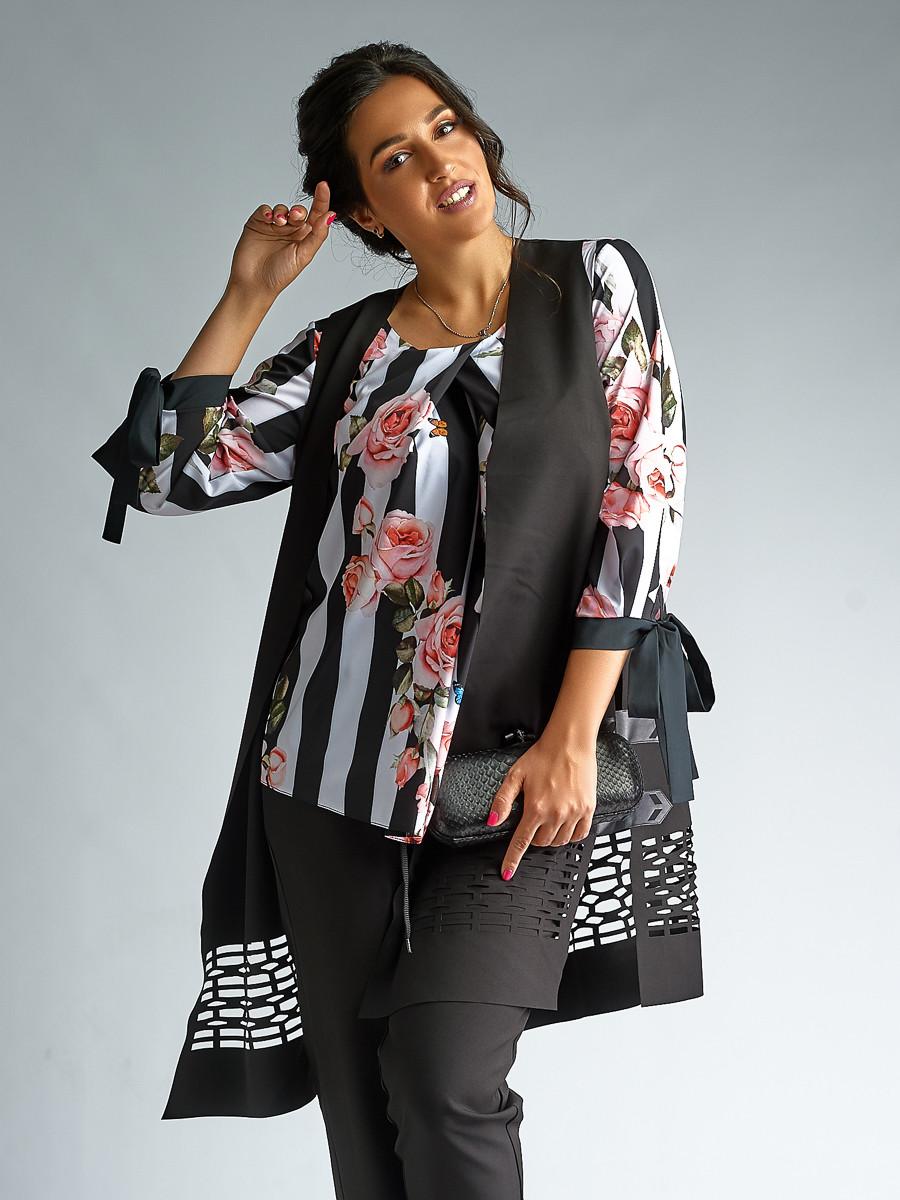 5374c445bb4 Женский брючный костюм-тройка с блузкой,жилеткой. 2 цвета.Размеры ...