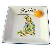 """Блюдо для закусок-сыра с вилкой 11х11 см. """"Кролик"""" фарфор"""