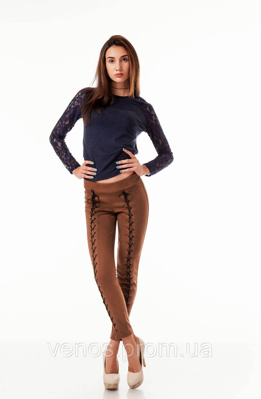 Трендовые женские леггинсы со шнуровкой  L083