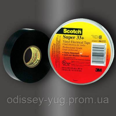 Изолента высшего класса 3M Scotch Super 33+ (19 мм x 20,1 м х 0.178 мм.), ПВХ. Всепогодная, самозатухающая.33