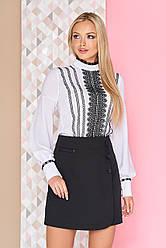 """Легкая нарядная шифоновая блузка с кружевом и воротником-стойкой, длинные рукава фонарики """"Юлианна"""" белая"""