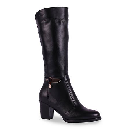 Модные женские  сапоги Viko (кожаные, зимние, с пряжкой, есть резинка, на замке, на каблуке, удобные, теплые)