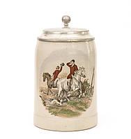 Коллекционный пивной бокал, керамика, оловянная крышка, Германия, охота, фото 1