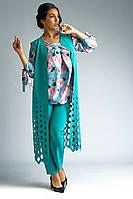 Нарядный стильный женский костюм-тройка кардиган с перфорацией. Размеры : 50,52,54,56,58,60,62., фото 1