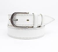 Кожаный ремень универсальный белый с классической пряжкой, фото 1