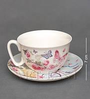 Фарфоровая чашка с блюдцем Бабочки WAB-02- 7