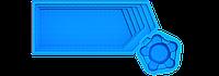 Стекловолоконный бассейн Аквапарк 9.7 х 4.3 х 1.55-1.1