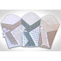 Летний конверт одеяло на выписку для новорожденного Бежевый горох