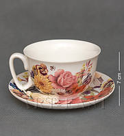 Фарфоровая чашка с блюдцем Цветы WAB-02-12
