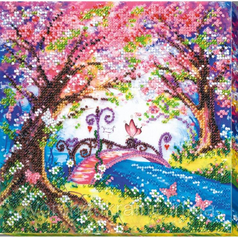 """Набор-миди для вышивки бисером на натуральном художественном холсте """"Мостик в весну"""""""
