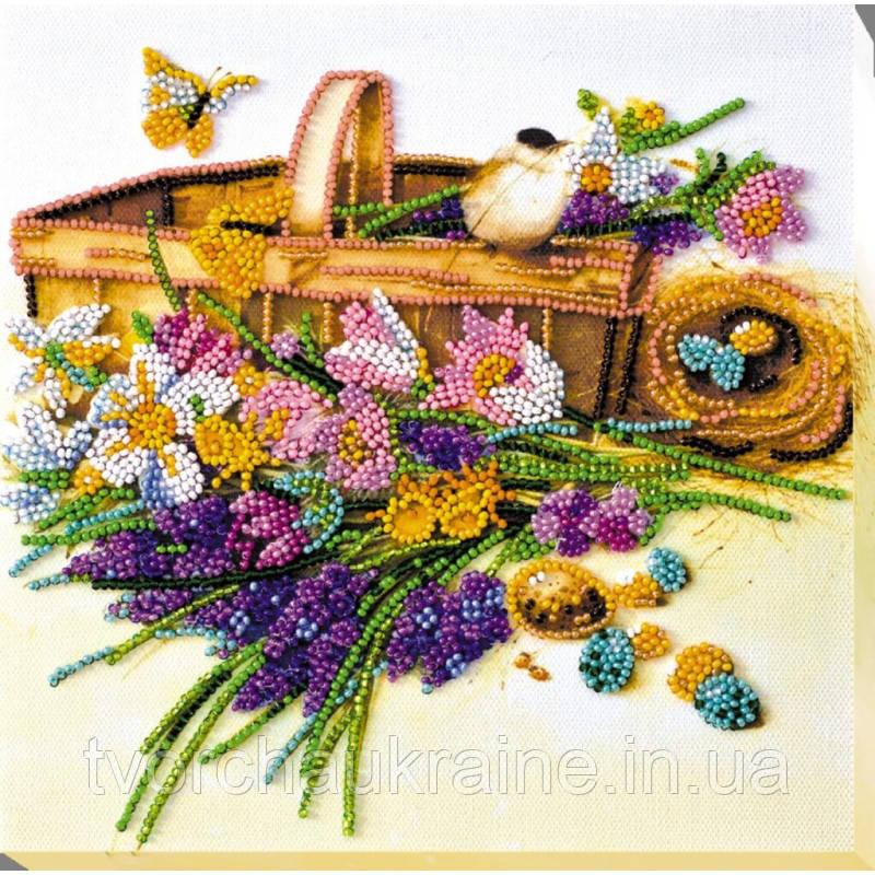 """Набор-миди для вышивки бисером на натуральном художественном холсте """"Ранние цветочки"""""""