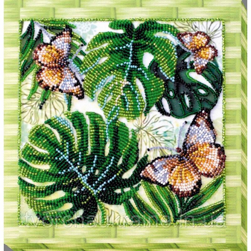 """Набор-миди для вышивки бисером на натуральном художественном холсте """"Монстера"""""""