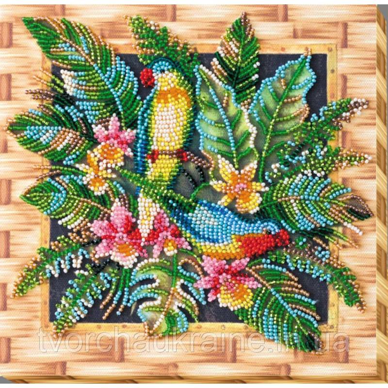 """Набор-миди для вышивки бисером на натуральном художественном холсте """"Попугаи лори"""""""