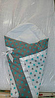 Летний конверт одеяло на выписку для новорожденного Бирюзовые звезды
