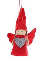 Набор (2шт) новогодних украшений Ангелочки 11см, цвет - красный, 781-280