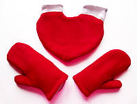 Варежки для влюбленных Красные  флисовые