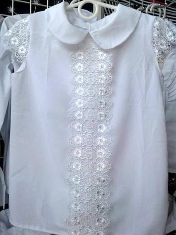 c8a7b2a2c01 Блузка для девочки с коротким гипюровым рукавом р.122-146 белая