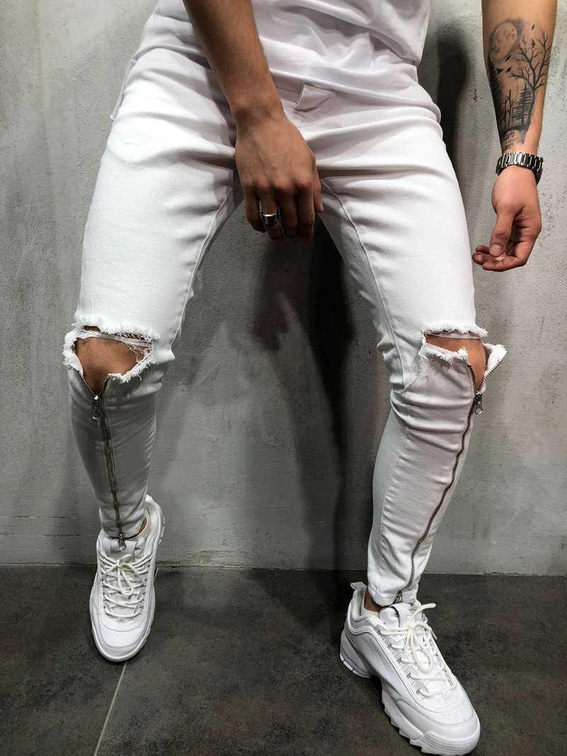01e1a9f44ed Мужские джинсы с дырками на коленях (рваные джинсы) белые зауженные -  Krossovki в Киеве