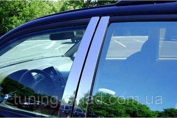 Хром молдинг дверных стоек Mitsubishi L200 2006_2015 (Митсубиси Л200)