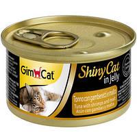Консервы для кошек с тунцом, креветками и солодом ShinyCat Tuna with shrimps and Malt in jelly