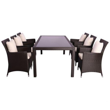 Комплект мебели из ротанга Samana-6 из ротанга Elit (SC-8849) Brown MB1034 ткань A13815
