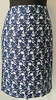 Юбка летняя классика, женская, коттон-джинс, белые узоры, размеры 48 код 2001М