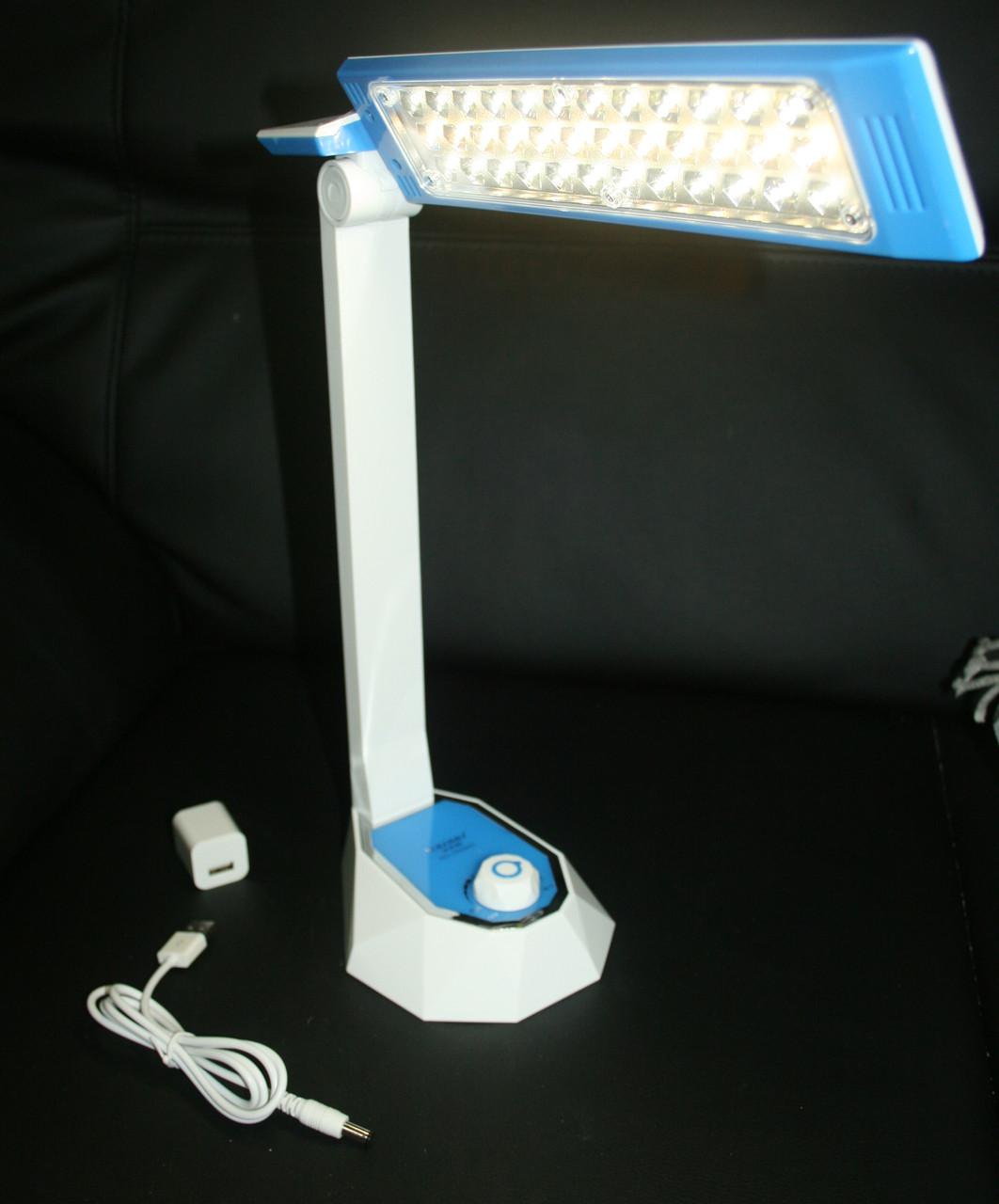 Настольная светодиодная лампа с аккумулятором 36 LED Бело голубой