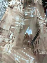 """Тюль печать """"Город"""" насыщенный коричневый, фото 2"""