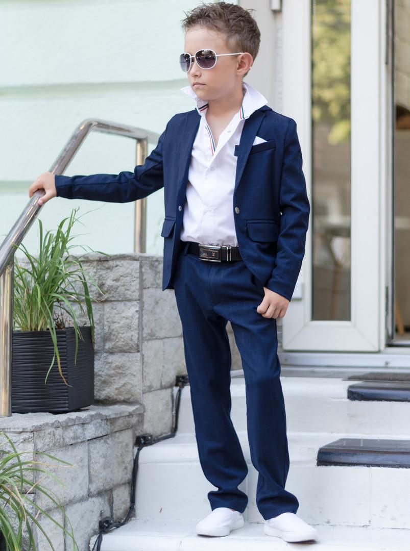 Костюм для мальчика синий школьный брюки+пиджак стильный.
