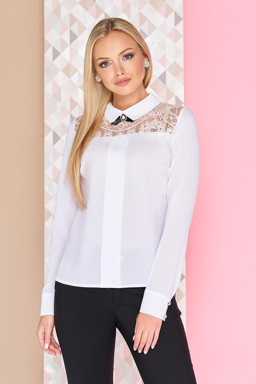 bdb9b0fa058 Белая легкая шифоновая блузка с ажурным кружевом на плечах длинные рукава