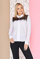"""Красивая белая легкая блузка с длинными рукавами и ажурным гипюром на плечах """"Алиас"""" (кружево черное)"""