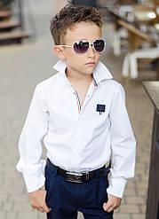 Детская школьная рубашка для мальчика белая длинный рукав т на кнопках