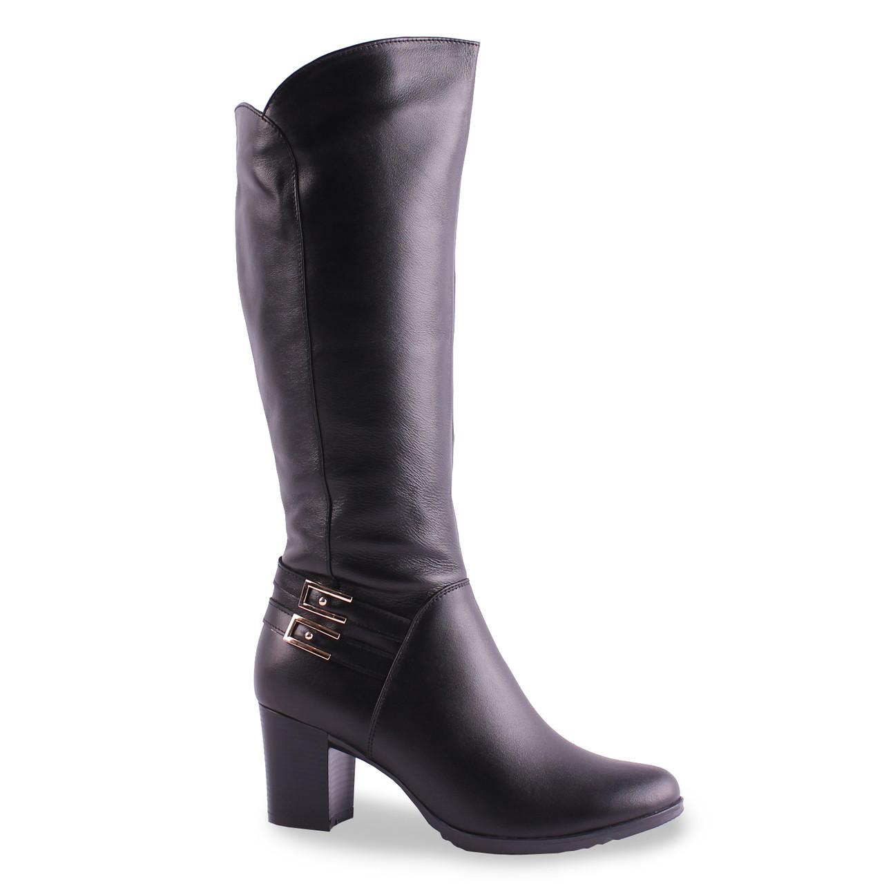 Модные женские сапоги Скорпион (кожаные,красивые, зимние, удобные, на каблуке, с красивыми пряжками,черные)