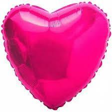 """Сердце фольгированное 18""""(45 см) малиновое металлик"""