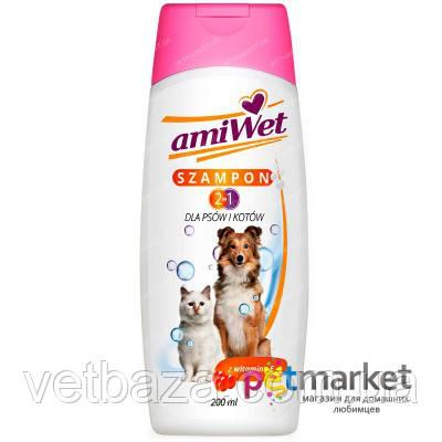 АМИВЕТ ШАМПУНЬ 2 в 1 с витамином е для собак и кошек 200 мл