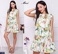 Летнее платье с  принтом птицы в цветах