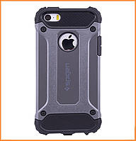 Бронированный противоударный TPU+PC чехол SPIGEN для IPhone 5 / 5s / SE Grey