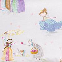 Простынь на резинке в детскую коляску BabySoon хлопок Принцессы из сказок 80 х 40 см (241)