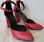 Mante! Красивые женские красные кожаные босоножки туфли каблук 10 см весна лето осень, фото 3