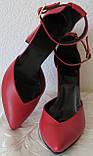 Mante! Красивые женские красные кожаные босоножки туфли каблук 10 см весна лето осень, фото 6