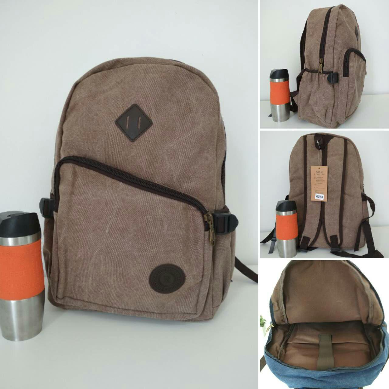 Коричневый текстильный рюкзак для школьников 43*30*19см
