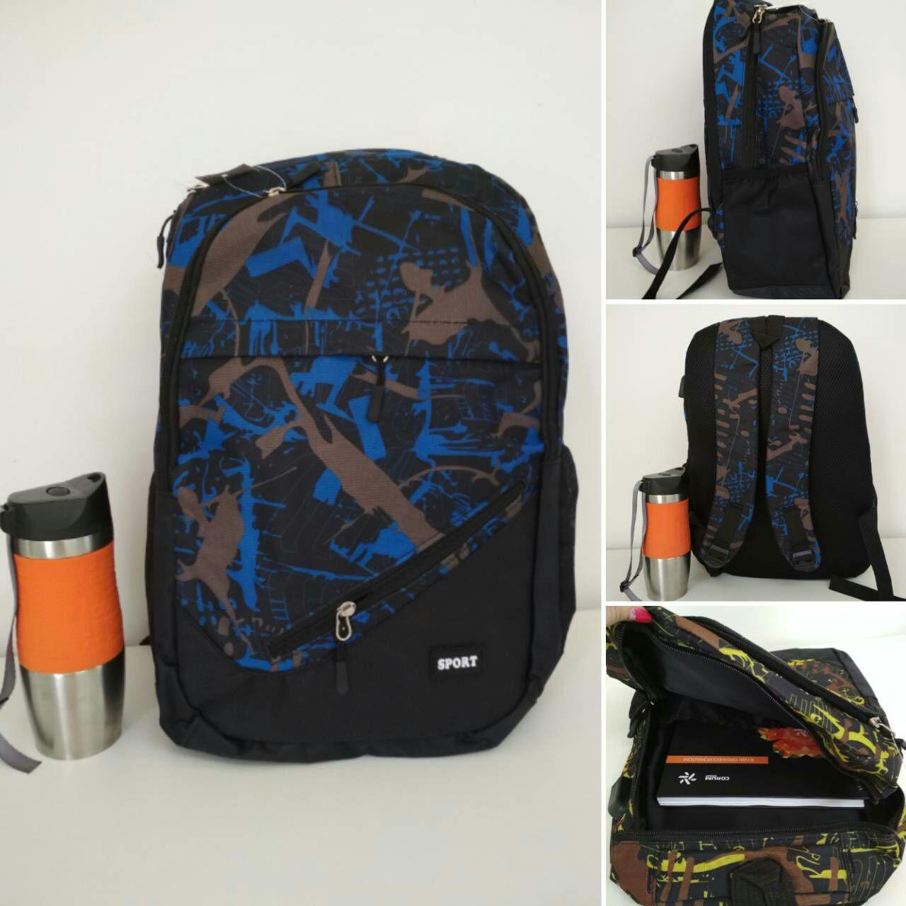 Школьный рюкзак черный с коричнево-синим принтом 45*32*15см