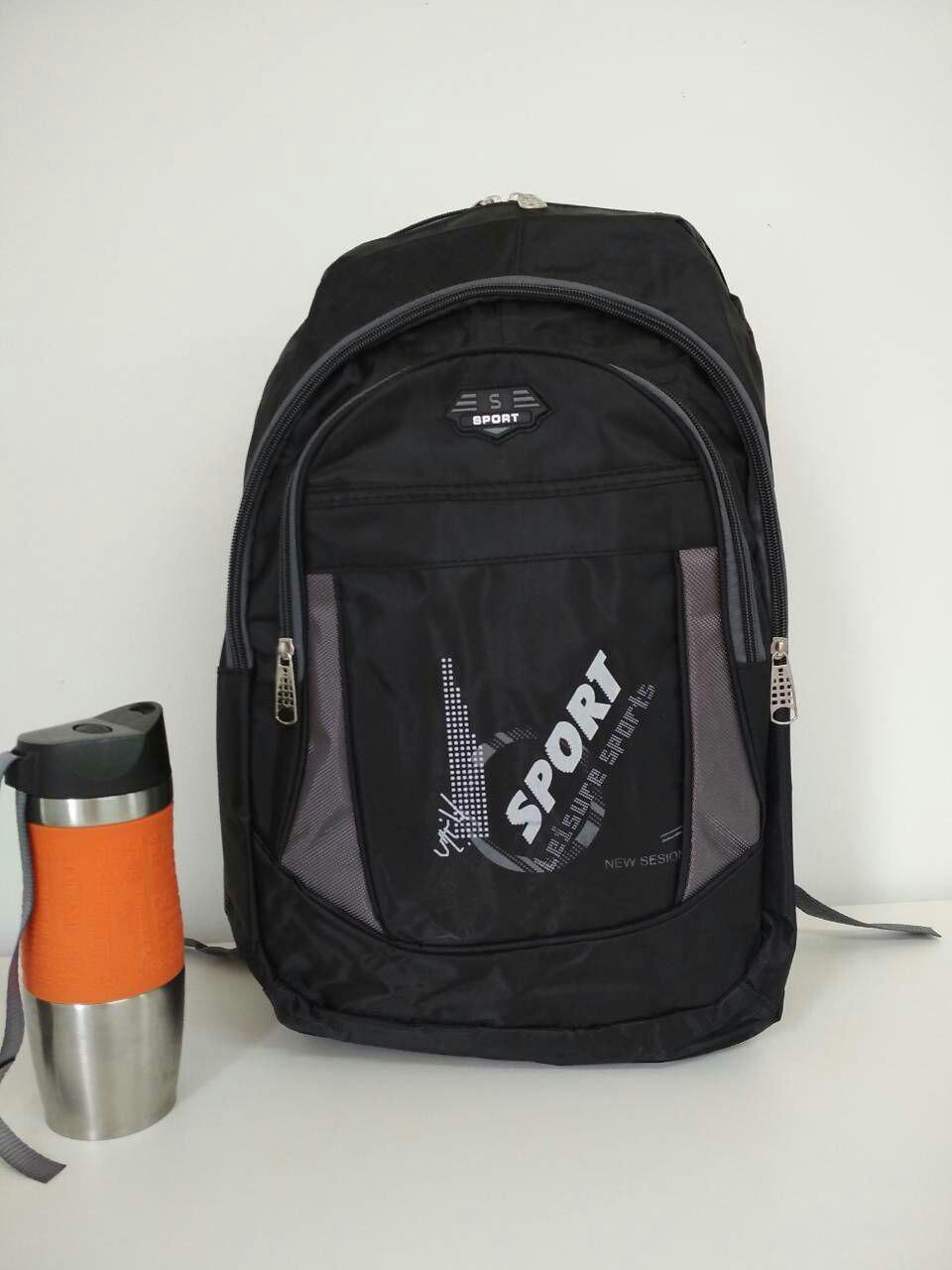 Текстильный школьный рюкзак для подростка с контрастными вставками и надписью 45*29*12 см