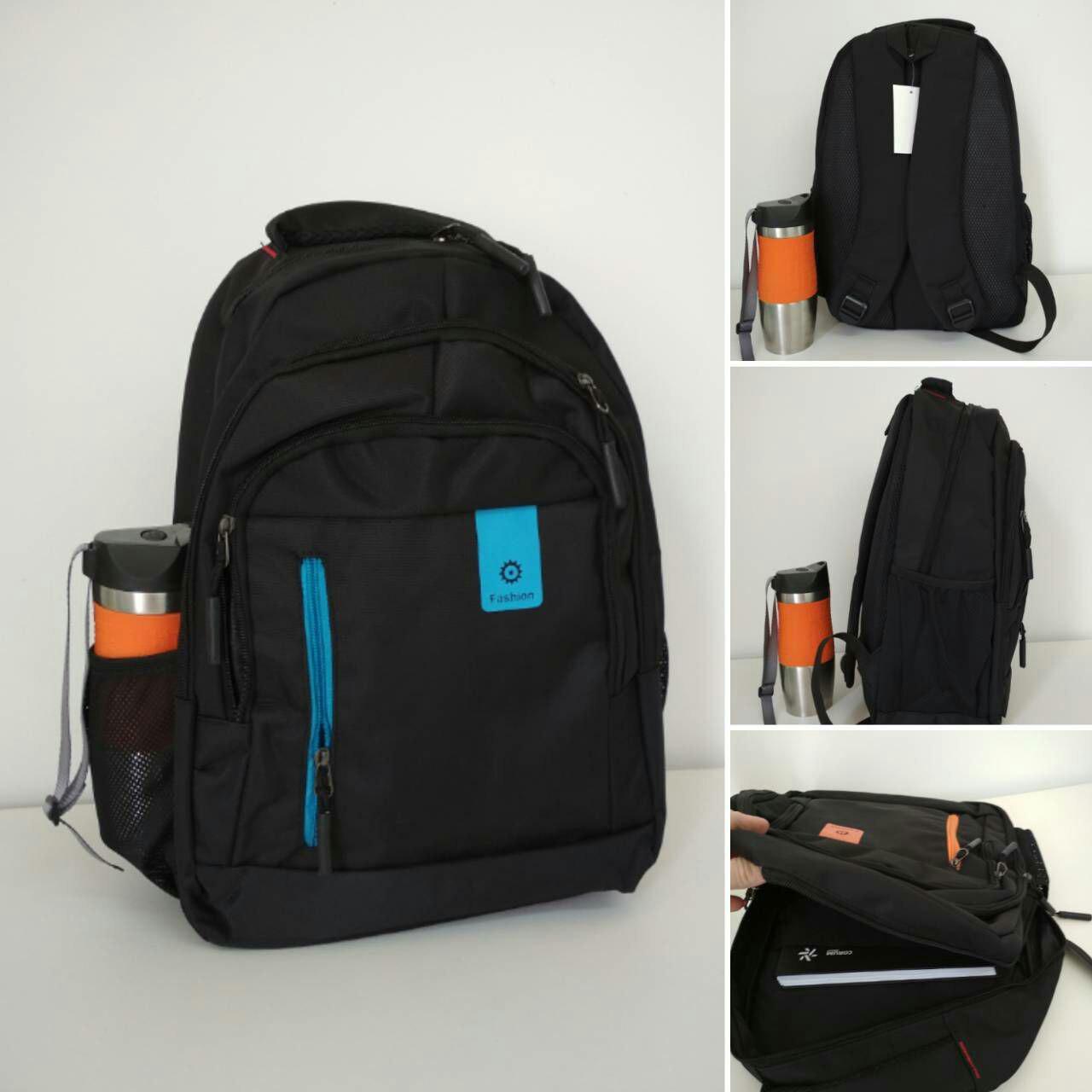 Подростковый школьный рюкзак с широкими лямками и голубой молнией 45*31*15 см