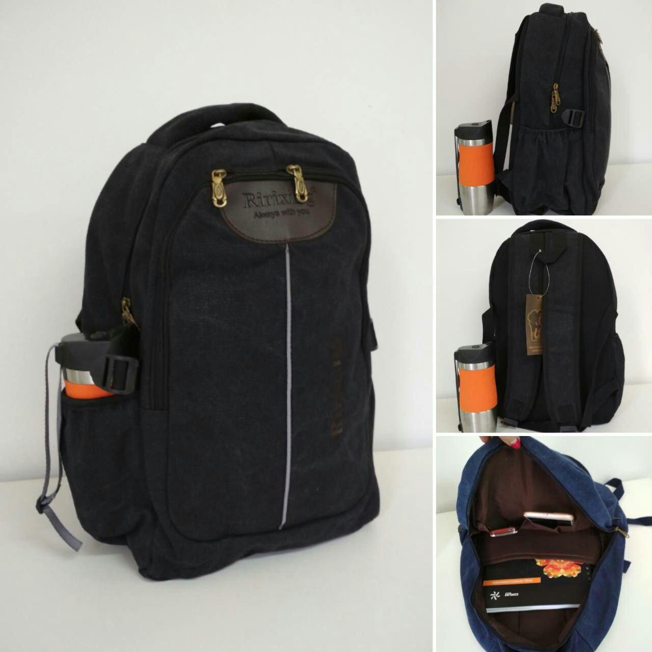 Черный текстильный рюкзак для школы с широкими лямками 43*28*16см